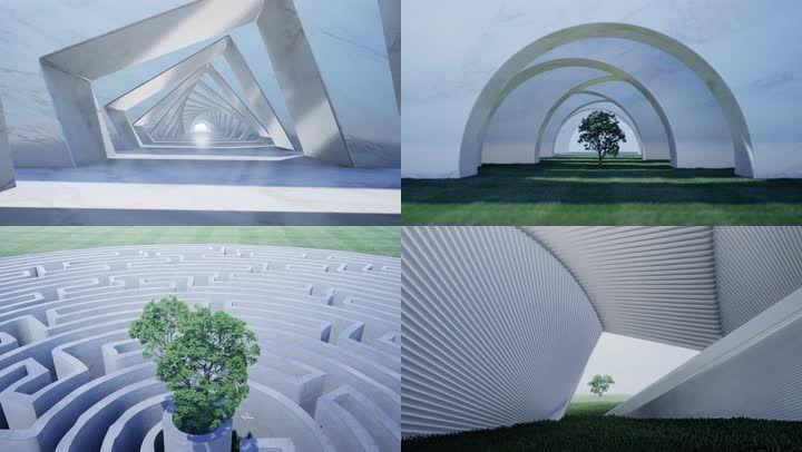 抽象商务空境建筑光影4K
