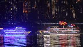 重庆两江旅游游轮夜景拍摄视频素材