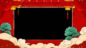 2K新春拜年框【循环带通道】视频素材