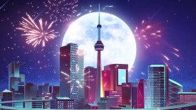 新年烟花绽放绚丽城市LED背景视频视频素材