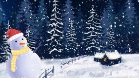 唯美圣诞节雪景雪人下雪LED背景视频视频素材