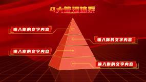 红色党政立体金字塔层级分类2AE模板