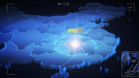 湖南长沙科技中国地图地球穿梭发射覆盖光线AE模板