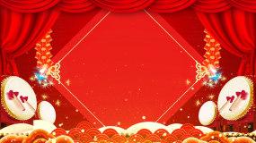 红色喜庆新年鞭炮舞台背景视频视频素材