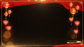 【透明通道】新年红绸灯笼边框视频素材
