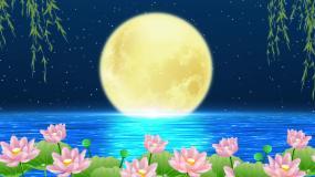 唯美圆月夜景舞台背景视频素材