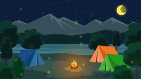 夜晚帐篷篝火MG动画背景视频素材