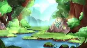 仙境森林透光彩蝶飞舞小湖涌泉晚会背景视频视频素材