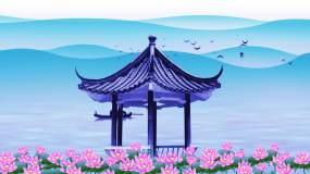 水墨荷花山水中国风背景视频素材