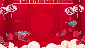 中国风红色喜庆灯笼祥云相声戏曲背景视频素材