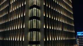 城投集团南浔发展大厦夜景灯光【4K】视频素材