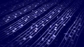 4k蓝色音符五线谱波浪起伏视频视频素材