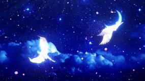 唯美大气蓝色粒子天使翅膀婚礼背景视频素材
