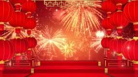 4K红灯笼礼花节日舞台循环视频素材