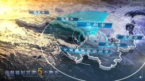 甘肃省写实地图全球辐射AE模板