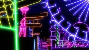 霓虹地标建筑背景视频素材