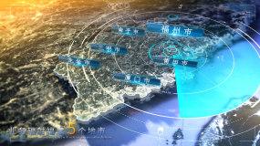福建省写实地图全球辐射AE模板