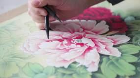 国画、写字、毛笔字、作画视频素材