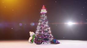 无缝循环4k高清绚丽梦幻圣诞节圣诞树场景视频素材