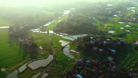 航拍美丽乡村田园风光视频素材