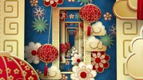 4K蓝色系新年国潮中国风大背景视频素材