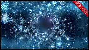 【4K】唯美雪花晶体水晶华丽粒子旋转绽放视频素材