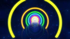 七彩圆环霓虹隧道无缝循环视频素材