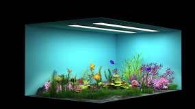 水族馆梦幻鱼缸直角屏裸眼3D视频素材包