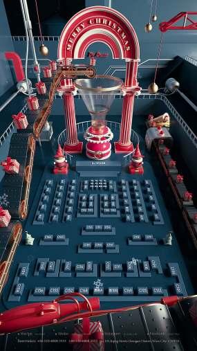 酒吧动态座位图圣诞节C4D工程C4D工程