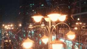 雪夜中的路灯视频素材