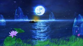 渔舟唱晚海面夜色视频素材
