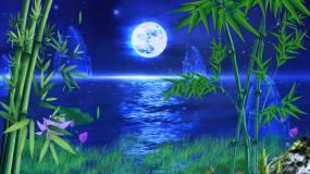 夜晚海面月亮视频素材
