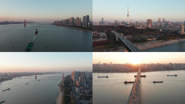 4K武汉日出长江大桥航拍