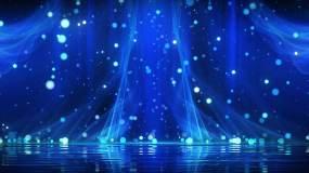 4K梦幻蓝色丝绸粒子背景循环视频素材