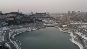济南孟家水库雪景视频素材
