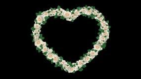 白色心形玫瑰花环边框无缝循环视频素材