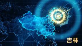 【吉林】坐标定位地球俯冲辐射全国AE模板