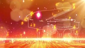 粒子音符钢琴舞台背景视频素材