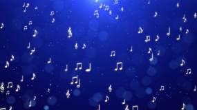 蓝色乐符背景【4K循环】视频素材