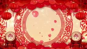 喜庆中国风鼓舞台背景循环22-16视频素材