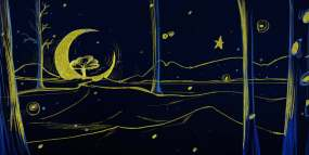 油画感唯美月亮夜空视频素材