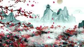 4K唯美中国风山水墨画背景视频素材视频素材