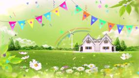 卡通小房子花朵彩虹视频素材视频素材
