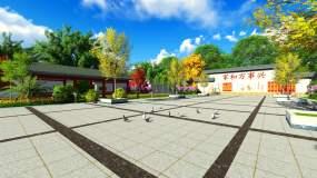 新农村现代小区广场背景动画视频素材