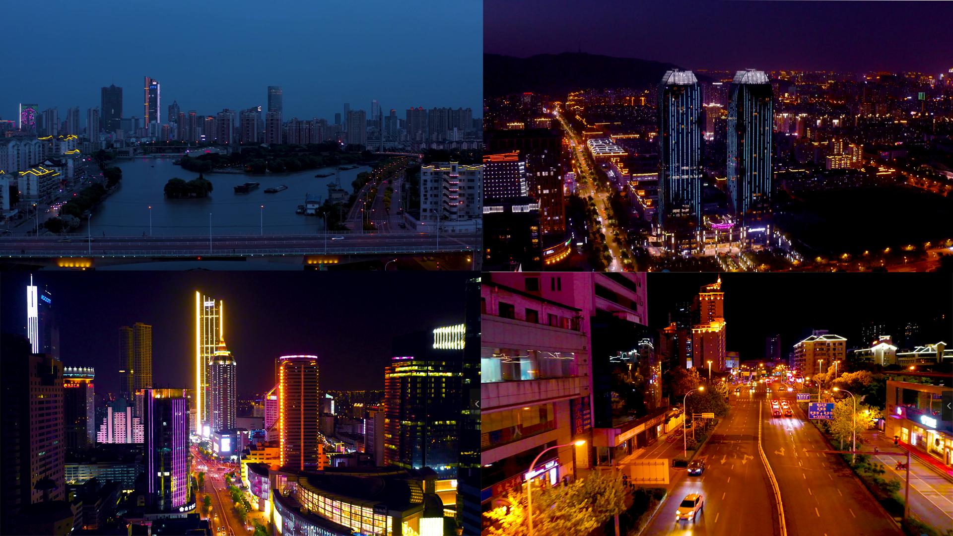 4k无锡城市夜景航拍
