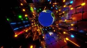 发光LED地球隧道穿梭视频素材