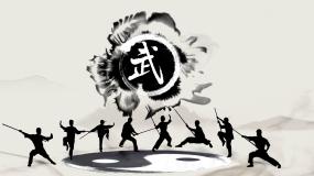 水墨风中国武术棍法展示片头视频素材
