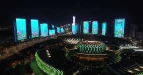 4K航拍济南春节灯光秀-2021视频素材