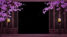 唯美古窗口梅花雪景带透明通道素材视频素材