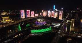 4K-航拍济南牛年春节灯光秀-2021视频素材